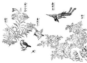 雀、百合、牡丹