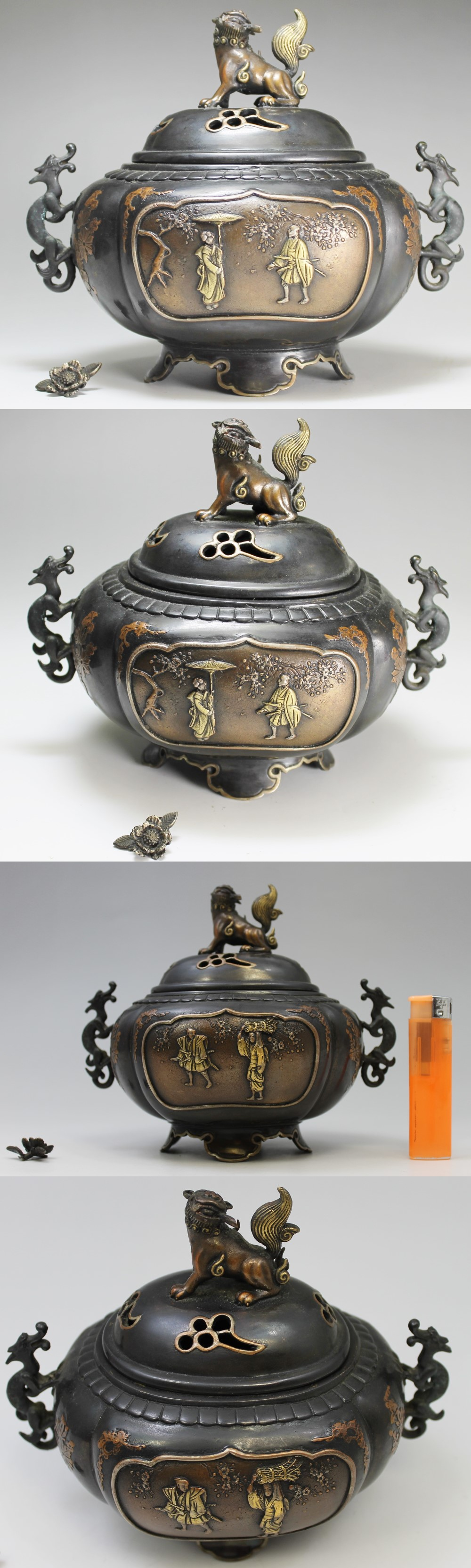 139高岡銅器唐獅子牡丹香炉2