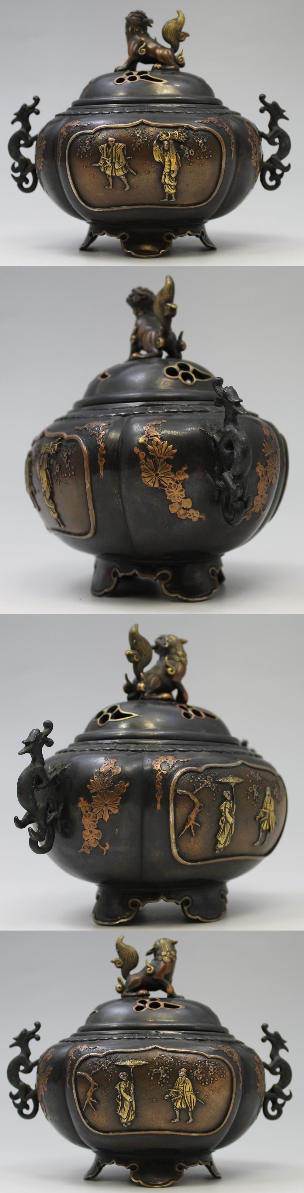 139高岡銅器唐獅子牡丹香炉3