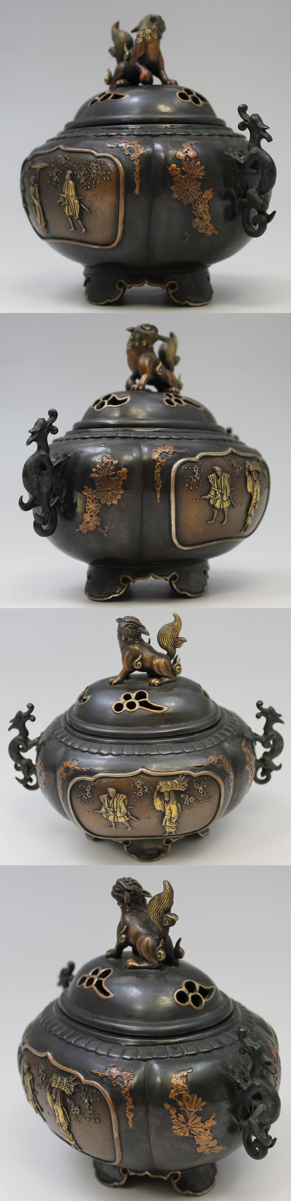 139高岡銅器唐獅子牡丹香炉4