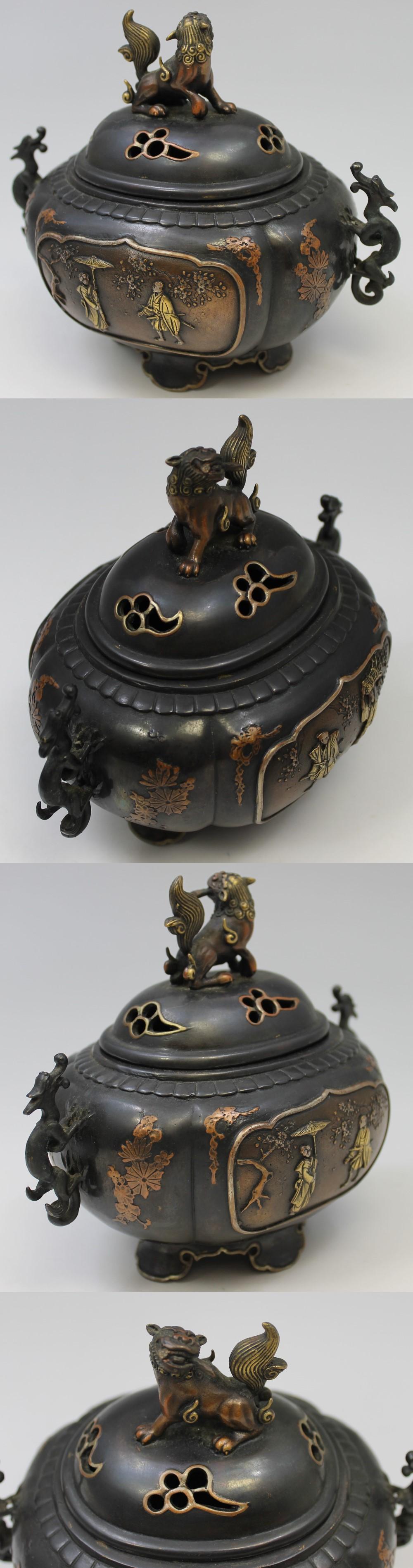 139高岡銅器唐獅子牡丹香炉5
