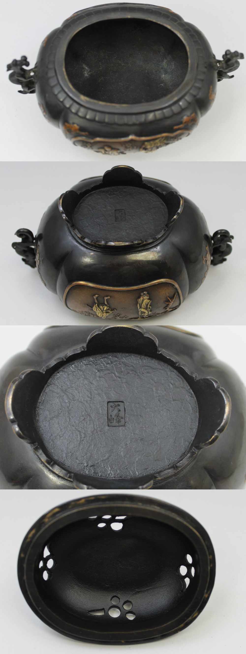 139高岡銅器唐獅子牡丹香炉7