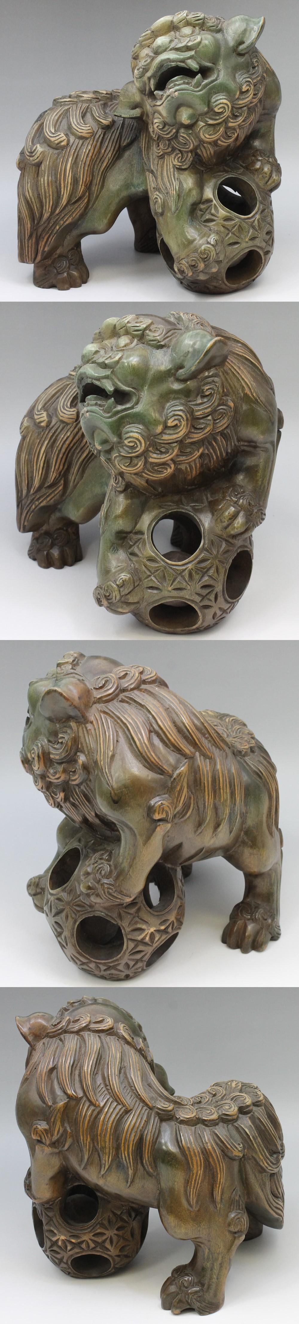 167木彫り獅子ペア4